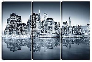 Dettagli su Quadro moderno NEW YORK SKYLINE 3pz-60x90 arredo casa bar  ufficio soggiorno tela