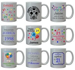 21st Birthday Gift For Him Mug Personalised Brother Son Nephew Grandson Daddy Ebay