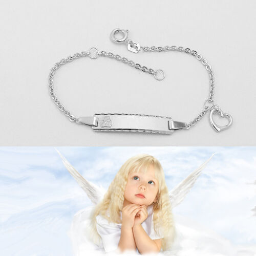 Baby Taufe Engel Armband Herz Gott schütze Dich Echt Silber 925 mit Namen Gravur