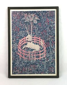 Vintage-Mid-Century-The-Unicorn-in-Captivity-Wall-Art-Lithograph-Print