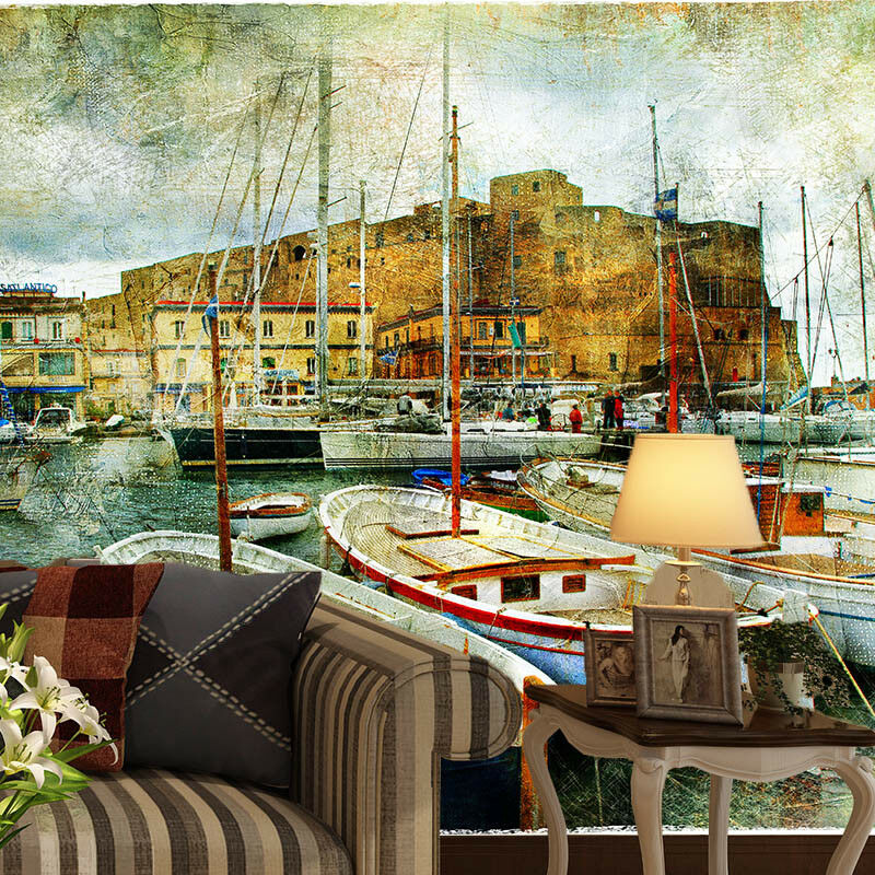 3D Old Houses Boat 4 Wall Paper Wall Print Decal Wall Deco Indoor Wall Murals