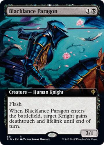 English MTG Throne Of Eldraine 1x Blacklance Paragon Extended Art NM
