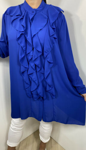 Floaty Blouse Tunic Top Frills Ruffles Royal Blue Plus Size 16 18 20 22 Long NEW