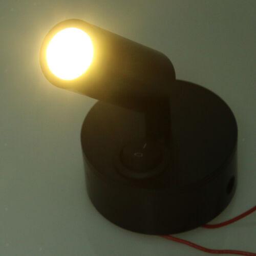 12V 3W 3000K Innen LED Spot Leselicht Wandhalterung Schwarz