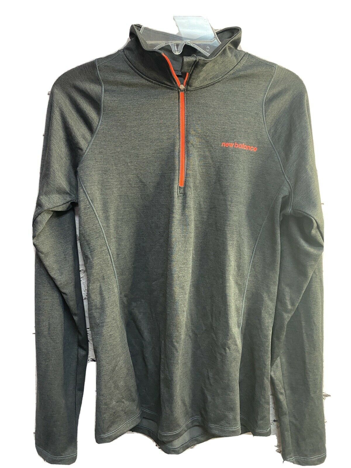 New Balance Women's Athletic Top Gray/Neon Orange Long Sleeve Half Zip Sz S