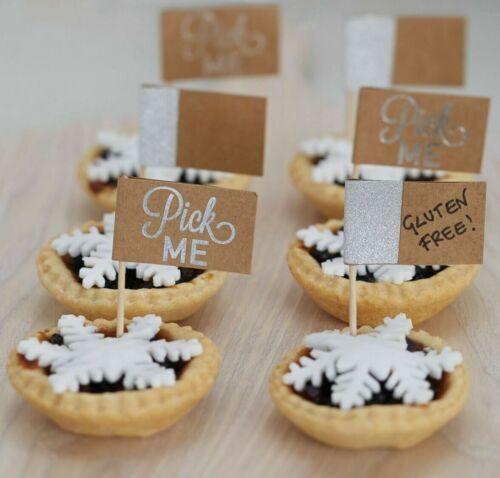 Kraft//Silver Glitter Mince Pie Bâtons//Fete de la nourriture drapeaux-Pack de 12