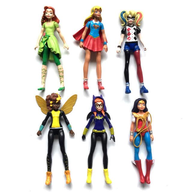 6pcs/set DC Comics Super Hero Girls Harley Quinn Batgirl Kid Action Figures Toy