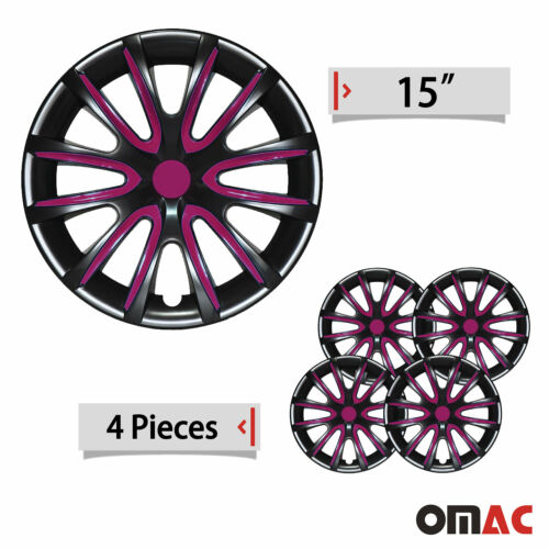 "15/"" Inch Hub Cap Wheel Rim Cover Glossy Black with Violet Insert 4pcs Set"