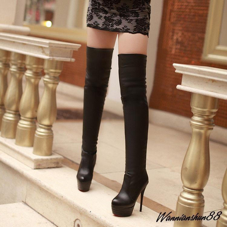 Fashion Sexy Women Thigh High Stiletto Heel Platform High Heel Casual Boots