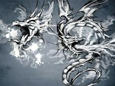 ART PRINT POSTER PAINTING DRAWING ORNATE PAIR DRAGON TATTOO DESIGN LFMP1093