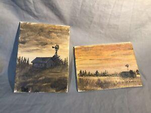 2-Original-Signed-Paintings-Catherine-Cathy-Luke-Nebraska-Prairie-Landscape-Barn