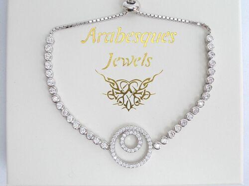 ARABESQUES JEWELS 925 SILVER TENNIS BRACELET//BANGLE CZ HAPPY SPIRIT CIRCLE AJTB