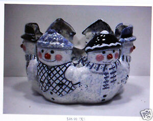 Ceramic Bisque Snowman Candle Basket Anns Mold 0821 U-Paint Ready To Paint