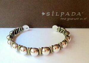 Silpada-Sterling-Silver-Brass-Wire-Wrapped-Beaded-Cuff-Bracelet-B0521-HTF