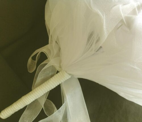 White Bouquet Satin Roses Rhinestones and Organza Ribbon Wedding Occasion Favor