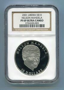 NGC-Proof-PF-69-Ultra-Cameo-Liberia-Silver-2001-Nelson-Mandela-10-Rare-Coin
