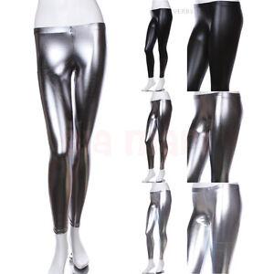 Faux Leather Leggings Metallic Shiny Skinny Costume Shiny Pants S M L