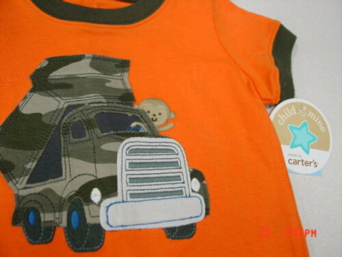 NWT Infant Boys 2 pc Carter/'s Outfit Shirt Pants Camouflage Orange truck monkey