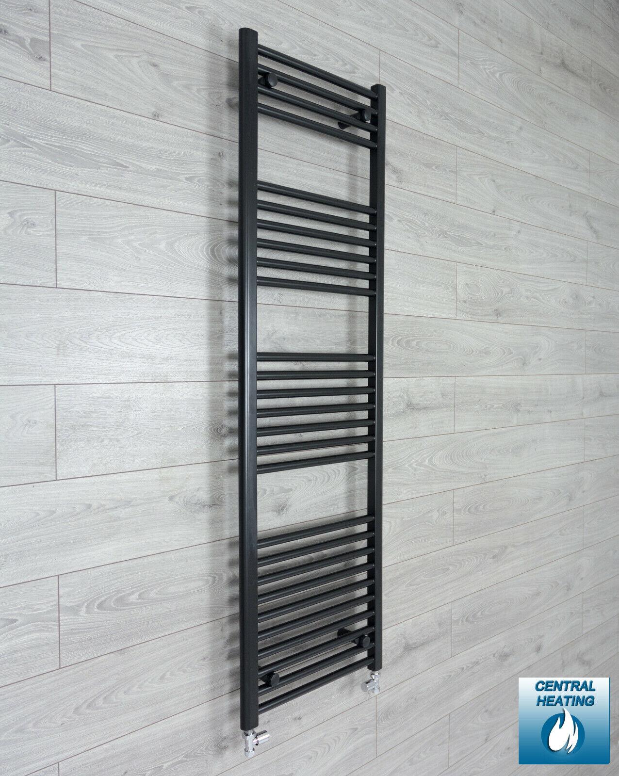 Noir Sèche-serviettes Radiateur 450 mm (W) x 1600 mm (H) Droit Salle de bains moderne