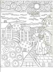 Rug-Hooking-Craft-Paper-Pattern-SEASIDE-CAT-Folk-Art-PRIMITIVE-Karla-Gerard