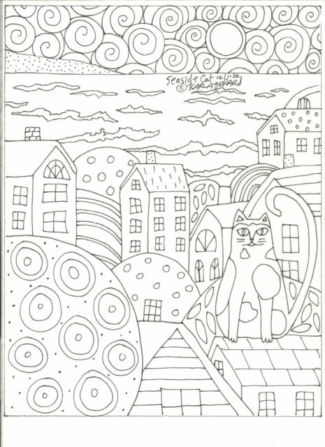 Rug Hooking Craft Paper Pattern SEASIDE CAT Folk Art PRIMITIVE Karla Gerard