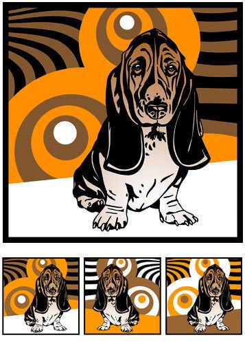 Retro Bild 70er Lounge Hunde Tierporträt Hundeporträt Basset-Hound 3 x Pop Art