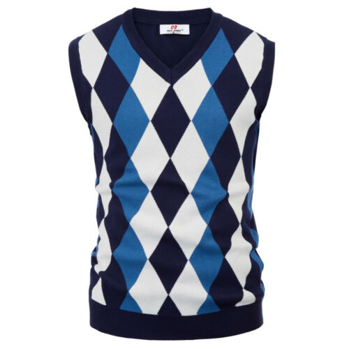 V Neck Knitted Vest Checks Sleeveless Knitwear Diamond Jumper Mens Tops