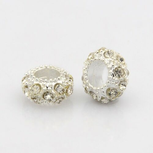 Silver Tone Alloy Grade A Rhinestone Large Hole Rondelle European Beads 11x6mm