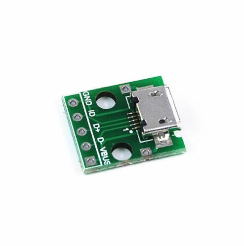 2pcs Female 2.54mm MICRO USB to DIP 5-Pin Pinboard 5Pin Pinboard Adaptor