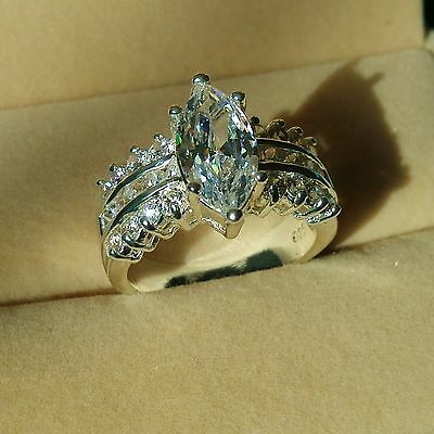 Brand Marquise Cut Topaz Diamonique 925 Silver Filled Wedding Ring Sz 5-11 Gift