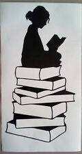 "girl sitting reading a book Vinyl decal sticker 12"" X 6"" frame libary school"