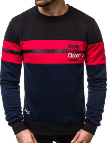 Sweatshirt Langarmshirt Rundhals Pullover Pulli Print Herren OZONEE 10758 MIX
