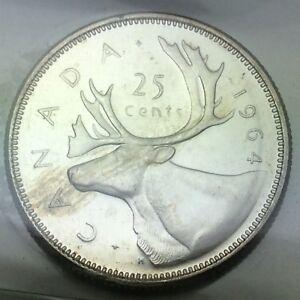 1964-Canada-25-Twenty-Five-Cents-Quarter-Canadian-Graded-ICCS-XNI-254-Coin-D071