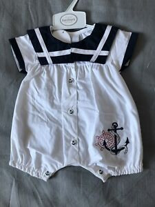 Baby Boys Romper Sailor Suit White /& Blue 0-3 3-6 6-9 Months Romper All In One