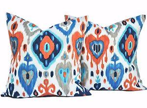 2 Ikat Indoor Outdoor Pillow Covers Turquoise Orange Grey Pillow