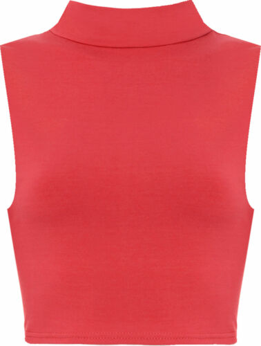 Ladies New Girls Look Sleeveless High Polo Turtle Neck Crop Top Vest Tshirt 8-12