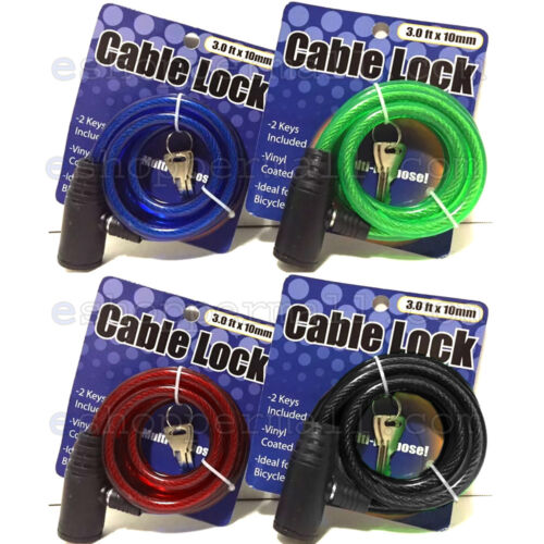 x 10 mm Vélo Bicyclette Sécurité Anti-vol acier Câble serrure W//2 Clés 4 Couleurs 3 FT environ 0.91 m