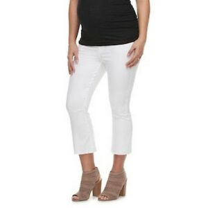 670bafc893821 Maternity a:glow White Size 16 Belly Panel Cropped Flare Jeans $54 ...