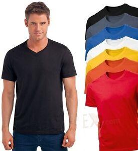 Hanes-Plain-Mens-ComfortSoft-Organic-Cotton-Vee-V-Neck-Tee-T-Shirt-S-XXXL