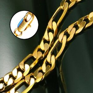 18k-Yellow-Gold-Mens-Womens-20-034-Italian-Figaro-8mm-Link-Chain-Necklace-D292