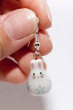 HANDMADE Cute Blue Rabbit Bunny Kawaii Dangling Drop Porcelain Earrings