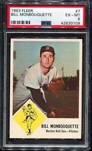 1963-Fleer-Baseball-7-BILL-MONBOUQUETTE-Boston-Red-Sox-PSA-6-EX-MT