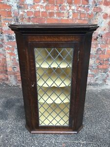 ANTIQUE-EARLY-20TH-CENTURY-GLAZED-DOOR-OAK-KITCHEN-CABINET-CORNER-CABINET