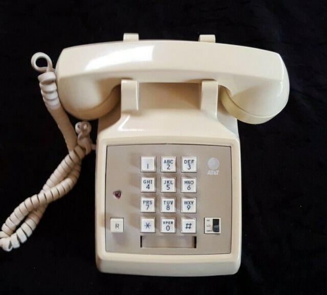 Beige push button phone