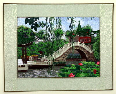 """Chinese embroidery painting landscape lotus 15x19"""" water lily oriental folk art"""