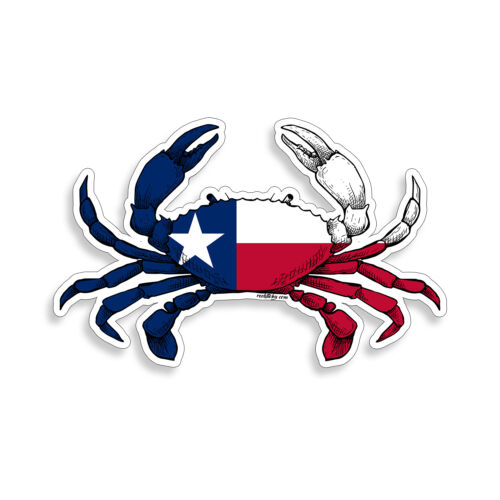 Texas Crab Flag Sticker TX Beach Cup Laptop Cooler Car Door Window Bumper Decal