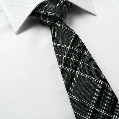 Mens Green Grey Check Tartan Woven Jacquard Pocket Square Tie Necktie Set  414