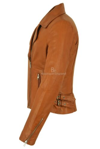 Biker Jacket 2588 Brando Napa Ladies Italian Leather Soft Style Tan Motorcycle wxSfIqvfE