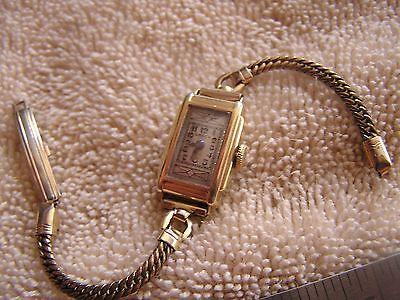 Vintage Gruen 14K Gold Filled Watch Guild 15 Jewels Art Deco