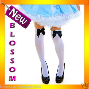 9095-1-Opaque-White-Thigh-Highs-Alice-in-Wonderland-Stockings-With-Black-Bow